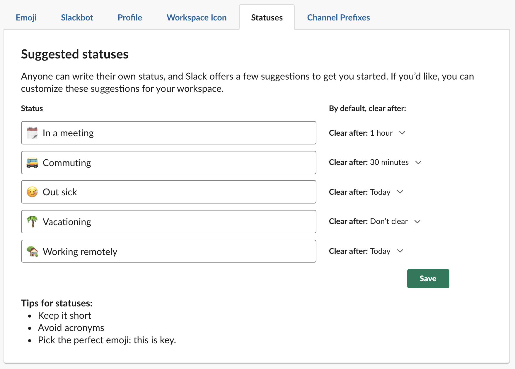 Start Configure Slack Status